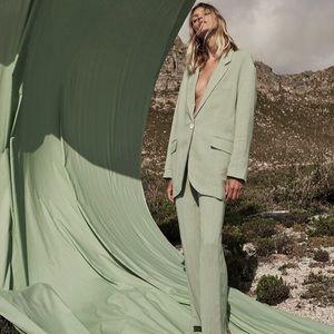Zara Oversized Rustic Blazer in Sea Green Size L